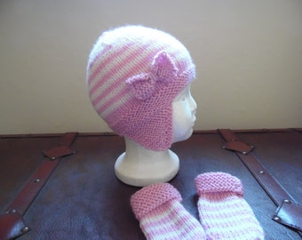 Hand knitted baby girls aviator hat and mittens set