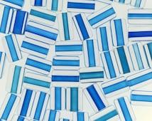 Furnace Glass Beads, Medium Aqua to Dark  Aqua Small - Medium size mix by Virginia Wilson Toccalino, 1 oz