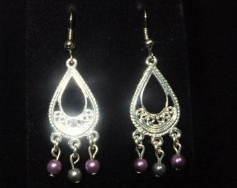 Purple & Silver Beaded Chandelier Earrings