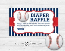 Instant Download Baseball Diaper Raffle Cards, Printable Blue Red Baseball Diaper Prize Drawing, Sports Theme Baby Shower Raffle 68A