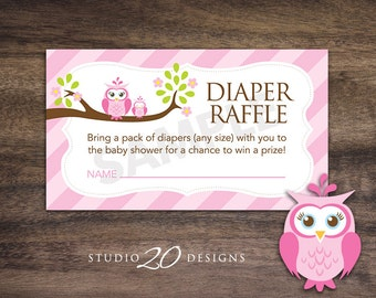 Instant Download Pink Owl Diaper Raffle Cards, Pink Brown Owl Baby Shower Diaper Raffle for Girl, Pink Diaper Raffle Prize Drawing 23E