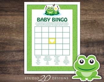 Instant Download Frog Baby Shower Bingo Cards, Printable Gender Neutral Baby Bingo, Green Yellow Frog Theme Baby Shower Game 24B