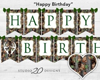 Instant Download Camo Birthday Banner, Camo Happy Birthday Bunting Banner, Realistic Green Camouflage Birthday, Hunters Camo Banner 31C