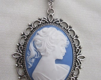 Large 30 x 40 mm White on Blue Lady Cameo Necklace