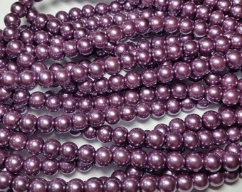 Purple / Mauve round glass pearls - 8mm