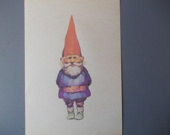 GNOME Print / Print on Vintage Paper / Home Decor / Art Illustration to Frame / Old Paper Sheet / Woodland / Dwarf
