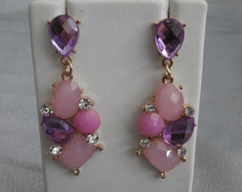 Purple and Pink Drop Earrings with Glass Rhinestones- Womens Earrings, Rhinestone Earrings, Purple Earrings, Pink Earrings, Jewelry