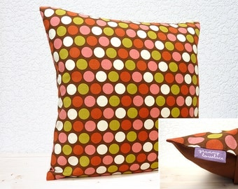 "Handmade 16""x16"" Cotton Cushion Pillow Cover in Brown/Green/Pink/Red/White Large Polka Dots Retro Indian Summer Design Print"