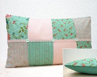 "Handmade 20""x12"" Cotton Cushion Lumbar Pillow Cover in Rose Aqua/Stripe Aqua/Dainty Floral Aqua & Gingham Rambling Rose Design Print"