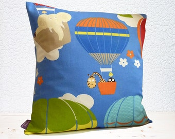 "Handmade 18""x18"" Cotton Cushion Pillow Cover in Blue/Orange/Red/Yellow & Green Air Balloons/Elephant/Giraffe Design Print"