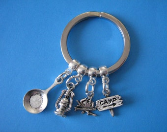 Camping Keyring Hiking Camper Scouts Camp Fire Lantern Charm