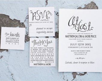 Wedding Invitation Stamp Suite, At Last Wedding Invites, Wedding Rubber Stamp Suite, Wedding Thank You Stamp, RSVP Stamper 10181