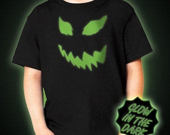 Children's Glow in the dark Pumpkin Mask T-Shirt