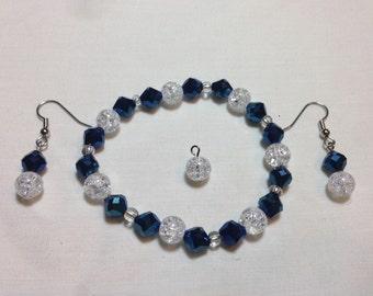 Shatter glass bracelet & earring set