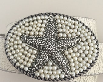 Silver Starfish Belt Buckle - Pearls -Antique Silver Starfish Belt Buckle - Nautical Buckle - Pearl Belt Buckle