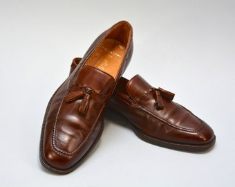 Vintage Tasseled Loafers - Brown Leather Men's Tassel Loafers Made in Italy by Gravati 9M Men's Leather Sole Italian Shoes