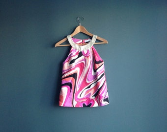 Authentic Emilio Pucci Top ∆ Psychedelic Halter Top ∆ Emilio Pucci Shirt ∆ Emilio Pucci Blouse ∆ Pucci Print ∆ Psychedelic 1960s Pucci ∆ XS