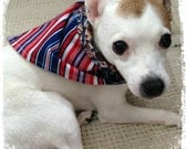 Reversible Doggie KOUTURE Kerchief Bandana--Stars and Stripes--Red White Blue--Americana--Ready to Ship