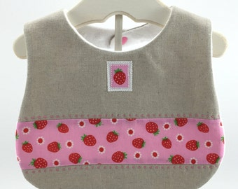 Strawberry Linen Bib