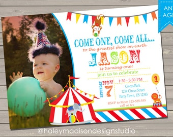 Circus, Carnival Birthday Party Invitation DIGITAL FILE