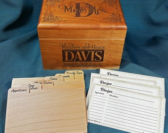 Recipe Box, Wedding Style Personalized, wood with Recipe Cards and Dividers