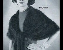Vintage Knit Angora Stole Accented With Tails Pattern - Perfect Special Occasion Wrap