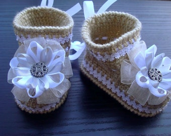 Crocheted Baby Booties .Knit Crochet Booties.Crochet shoes.