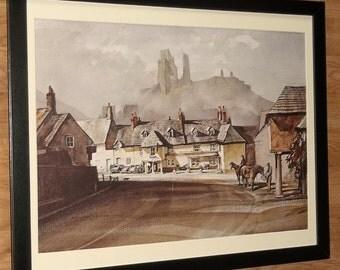 Corfe Castle print - Rowland Hilder print - 20''x16'' frame, Castle wall art