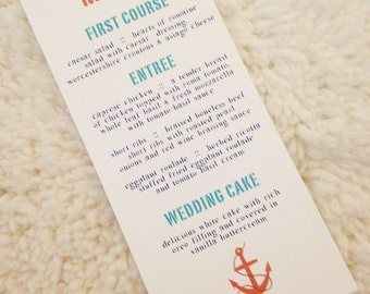 200 Anchor Menu Cards