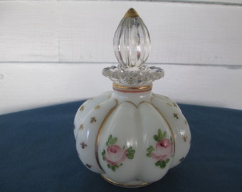 Vintage Tyndale Puffy Pink Rose Perfume Bottle With Stopper Vanity Item Gift Collectibles