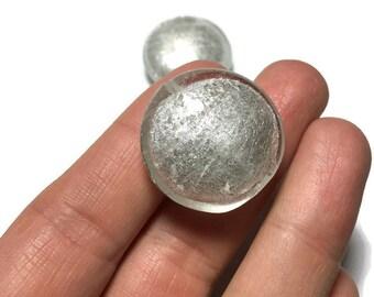 Venetian Glass Silver White Round Beads 30mm 2pcs