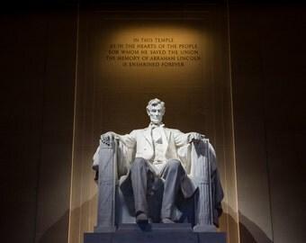 "Washington DC Art, Lincoln Memorial, Fine Art Print, Photography, Abraham Lincoln, DC Wall Decor, Monument, Color Options - ""Lincoln"""