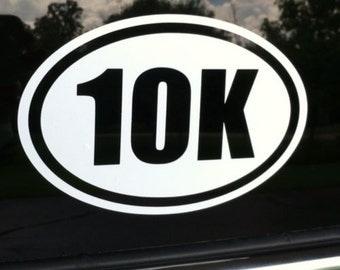 "10K Marathon Runner Euro Oval 6"" Vinyl Decal Widow Sticker for Car, Truck, Motorcycle, Laptop, Ipad, Window, Wall, ETC"