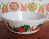 Vintage JAJ Pyrex Kent Milkglass Casserole Serving Dish Bowl Oven Proof Vegetable Pattern Mid Century Modern 1970's English Kitchenware