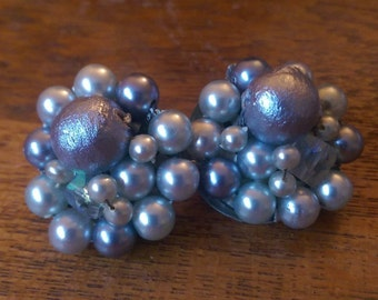 Blue Toned Vintage 1950's Beaded With Faux pearls Marked Japan