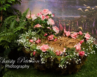 Fairy Basket for Newborns and Babies, Two Digital Backgrounds for Photographers