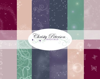 Digital Fairy Tale Scrapbook paper 12x12 set of 12 for Princess and Fairy smokey colors- tones