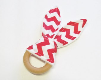 Red Chevron Teething Ring Crinkle Sensory Toy With White Minky Dimple Dot