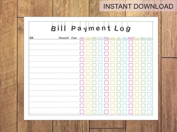 bill payment log printable instant download. Black Bedroom Furniture Sets. Home Design Ideas