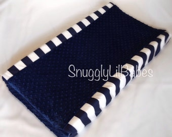 Navy stripe, navy minky dot changing pad cover