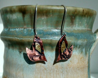Flame copper and brass hearts