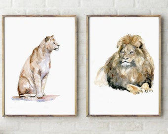 Two Prints Set of Lion Watercolor paintings - Animal painting - Lion and lioness Zen Aquarelle Home Decor Wall Art - Lion drawing Lion Art
