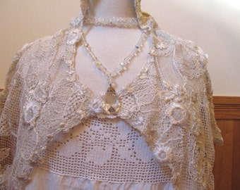 Antique Bobbin Lace - Belgium Lace - Maltese Bridal Shawl or Scarf