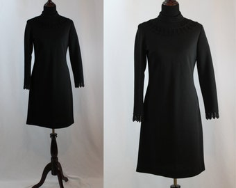 Vintage 60s Long Sleeved Black Mod Dress Shift Dress by Bleeker Street
