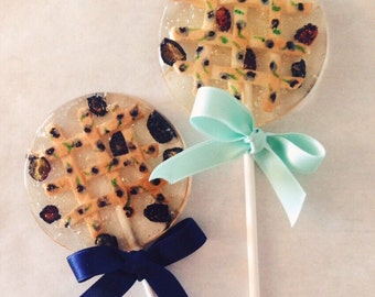 """3 Blueberry """"Pie"""" Lollipops With Organic Blueberries And Handmade And Painted Lattice Pie Crusts"""