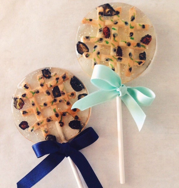 "3 Blueberry ""Pie"" Lollipops With Organic Blueberries And Handmade And Painted Lattice Pie Crusts"