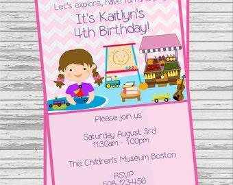 Children's Museum Girl Themed DIGITAL Birthday Invitation.