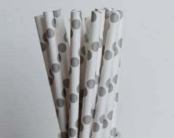 Grey Polka Dot Paper Straws-Gray Straws-Polka Dot Straws-Party Straws-Wedding Straws-Mason Jar Straws-Silver Straws-Cake Pop Sticks