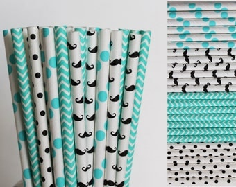 Aqua and Black Mustache Paper Straw Mix-Aqua Chevron Paper Straw-Black Polka Dot Straws-Mustache Party Paper Straws-Little Man Party Straws