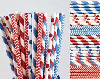 Dr. Seuss Red White and Blue Paper Straw Mix-Striped Straws-Polka Dot Straws-Chevron Straws-Birthday Party Straws-4th of July Straws